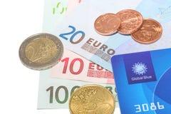 全球性蓝色与欧洲金钱的公司免税卡片 库存照片