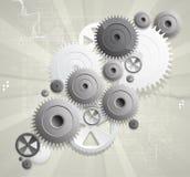 全球性齿轮计算机科技概念企业背景 免版税图库摄影