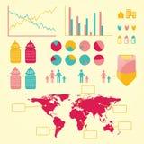 全球性birht信息图表 库存图片