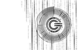 全球性cryptocurrency GCC硬币几何标志 3d使hud目标显示数字式电子银行业务未来 免版税库存图片