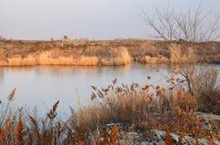 全球性Geopark的湖Yaoquan在五大连池在华北在秋天在晚上 免版税库存照片
