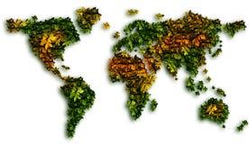 全球绿色叶子温暖 免版税库存图片