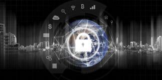 全球网络保安系统技术 地球和网络连接和锁有应用象的 这个图象的元素是 库存图片