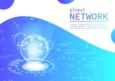 全球网络数字技术、企业传染媒介,pixelate背景介绍、网、飞行物、横幅和盖子模板 向量例证