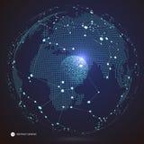 全球网络连接,国际意思 世界地图poin, 库存例证