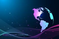 全球网络连接 网络和大数据交换在空间的行星地球 全球的商业 向量 库存图片