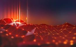 全球网络 Blockchain 神经网络和人工智能 3D例证摘要技术背景 皇族释放例证