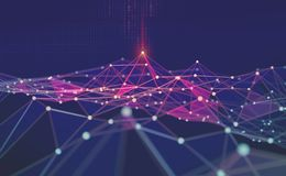 全球网络 Blockchain 3d例证 神经网络和人工智能 技术抽象背景 皇族释放例证