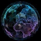 全球网络互联网技术 数字式世界地图 库存图片
