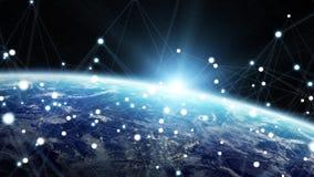 全球网络和数据交换在行星地球3D烈 免版税库存图片