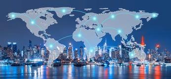 全球网络和连接N地平线的技术概念  免版税库存图片
