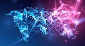 全球网络多角形背景 向量 库存例证