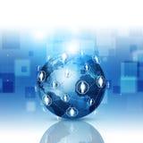 全球网络通信蓝色背景 图库摄影