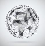 全球网络,与里面象素分布图的球形 库存图片