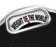 全球规模词负担麻烦的重量 图库摄影