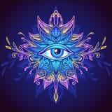 全看见的眼睛的抽象符号在Boho样式蓝色淡紫色桃红色的 库存图片