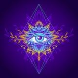 全看见的眼睛的抽象符号在Boho样式蓝色金子的 库存图片