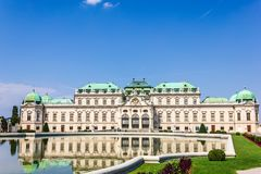 全视图的贝尔维德雷宫,维也纳,没有人 免版税图库摄影