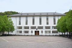 全视图Ruprecht Karls大学主楼有智慧米奈娃的罗马女神雕象的在入口上的 图库摄影