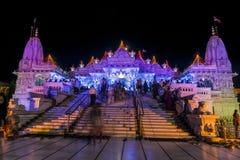 全视图Swaminarayan寺庙 免版税图库摄影