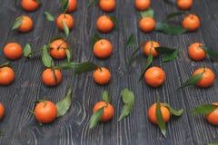 全部在光滑的成熟圆的橙色普通话在深黑色木背景的少量行 免版税库存图片