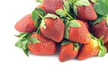 全部在白色特写镜头隔绝的草莓果子 库存照片