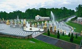 全部级联 Peterhof宫殿 免版税图库摄影
