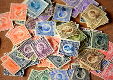 全部老被烙记的邮票 免版税库存照片