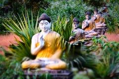 全部Buddhas雕象在Loumani菩萨庭院 Hpa-An,缅甸缅甸 免版税库存照片