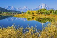 全部Teton山和Oxbow在怀俄明美国弯曲 免版税库存照片