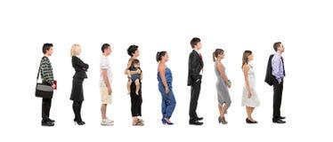 全长人纵向常设妇女 免版税图库摄影