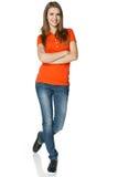 全长的无忧无虑的十几岁的女孩 免版税库存图片