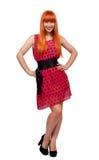 全长的红色头发女孩 免版税库存照片