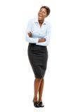 全长非裔美国人的有吸引力的年轻女实业家丝毫 免版税库存照片