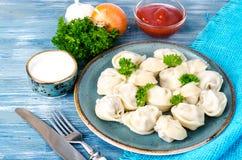 全麦的面粉鲜美自创肉饺子,洒与在板材的新鲜的荷兰芹在木桌上 库存照片