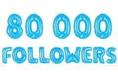 八万个追随者,蓝色颜色 库存照片