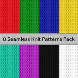 八个无缝的颜色编织样式组装 皇族释放例证