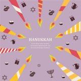 八个蜡烛八天犹太假日Hanikkah infographics 免版税库存照片