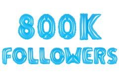 八十万个追随者,蓝色颜色 免版税库存照片