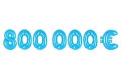 八十万欧元,蓝色颜色 免版税库存图片