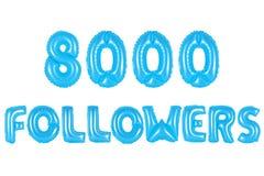八千个追随者,蓝色颜色 图库摄影