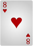 八卡片心脏啤牌 库存图片