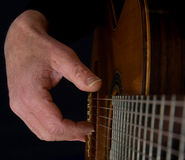 八吉他演奏员字符串 免版税库存图片