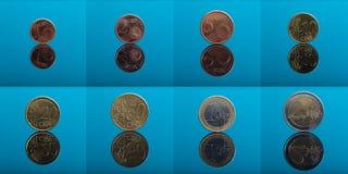 八枚欧洲硬币拼贴画  免版税库存照片