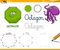 八角形物动画片基本的几何形状 库存例证