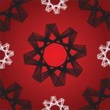 八角形物星红色无缝的样式 库存例证