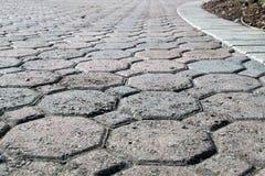 八角形物被塑造的bricked车道低角度 免版税库存图片