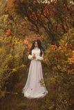 公主在一个冷面秋天庭院里 库存照片