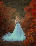 公主在秋天庭院里 免版税图库摄影