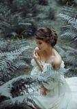 公主坐地面在森林里,在蕨和青苔中 在夫人是有深的一件白色葡萄酒礼服 免版税库存图片